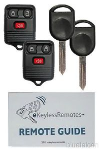 2X New Ford Keyless Entry Remote Remotes Fob Fobs X2 Chipped Ignition Key Keys