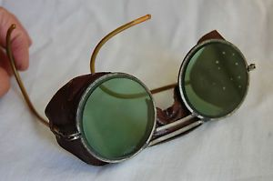Vintage Motorcycle Goggles Leather Steam Punk Antique Green Round Safety Glasses