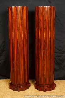 Pair Art Deco Pedestal Column Stands Tables