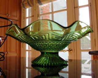 Northwood Greek Key and Scales Green EAPG Noniridized Dome Footed 8 Ruffled Bowl