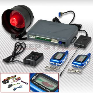 2 Ways Car Security Alarm System Set Kit w Siren LCD Pager Engine Start Blue