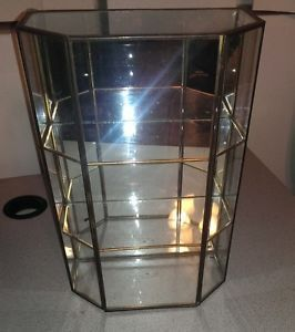 Vintage Handmade Glass Mirror Curio Cabinet Display Case Shelves 12""