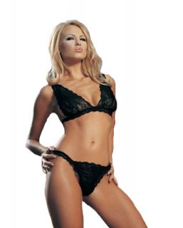 Leg Avenue 2 PC Nylon Lace Bra Top with Thong O s Black 8639
