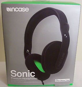 Incase Black Green Sonic Over The Ear Headphones for iPod iPhone iPad EC30040
