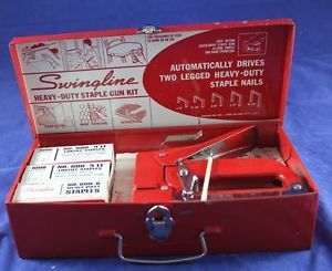 Vintage Red Swingline 800 Heavy Duty Staple Gun Kit in Metal Case with Staples