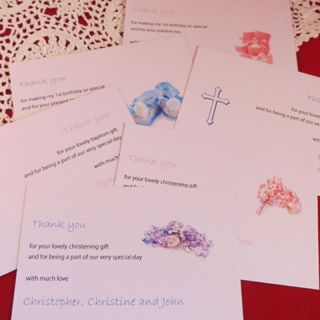 Personalised Thank You Cards Baby Shower Baptism Christening Birthday Boy Girl