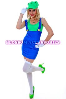 J18 Womens Super Mario Luigi Brothers Plumber Fancy Dress Up Party Costume Hat