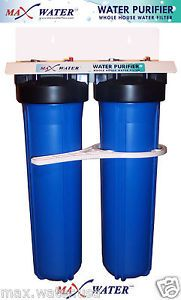 "Big Blue 20""x4 5 Dual Whole House Water Filter System Sediment Carbon GAC Filter"