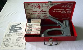 Vtg Red Swingline 900 5 Heavy Duty Staple Gun Kit 5 Boxes Staples Metal Case