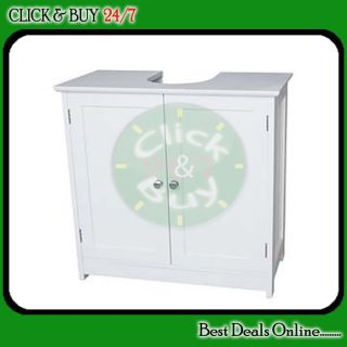 White Double Door Under Sink Bathroom Storage Cabinet
