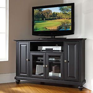 Corner TV Stand Entertainment Center Console Media Black TV's to 48 inch New