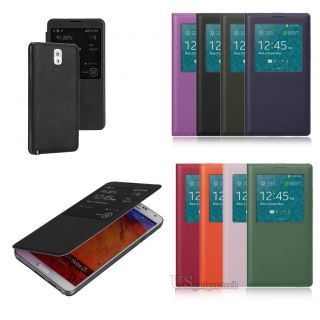 For Samsung Galaxy Note 3 III Battery Cover Window View Flip Phone Case Pouch