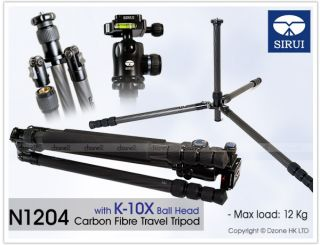 Sirui N 1204 Carbon Fibre Travel Tripod with K 10x Ball Head for Camera T304