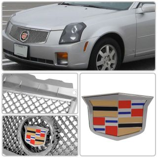 "03 07 Cadillac cts ""Euro"" Glossy Chrome Front Grille Grill Emblem Crest Wreath"