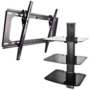 New Shelf Wall Mount AV DVD Cable Box Game Console 3 Tier Stand Tilt TV Mount