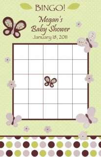 24 Personalized Cocalo Sugar Plum Baby Shower Bingo Game Cards Purple Butterfly