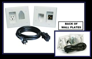 Recessed TV Power Cord Cable Wire Pass Through White Wall Plate Pro Install Kit