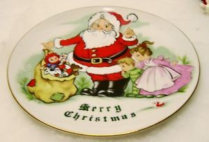 Vintage Lefton China Merry Christmas Santa Claus Children Plate Wall Plaque