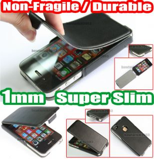 1mm Aluminium Slim Black Flip Leather Case Cover Pouch for Apple iPhone 4 4G 4S
