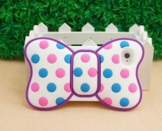 Cute New Minnie Bow 3D Silicone Cover Back Case for iPhone 4 4G 4S Purple ST71
