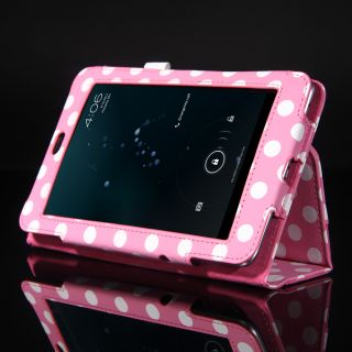 Pink Polka Dots Case Cover for Google Asus Nexus 7 inch Tablet Free Pen Film