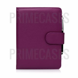 Purple PU Leather Case Cover Screen Protector and Stylus for Kindle Paperwhite
