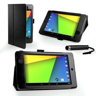 Black Stand Wallet Leather Case Cover for Asus Google Nexus 7 2 Film Stylus