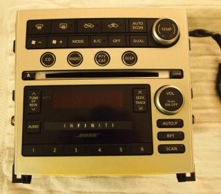 Infiniti G35 Bose Radio Six Disc Changer CD Player with Climate Control Faceplat