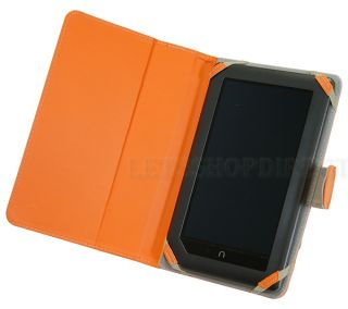 For Barnes Noble Nook Color Orange 3 Way Leather Stand Cover Case Sleeve Bag