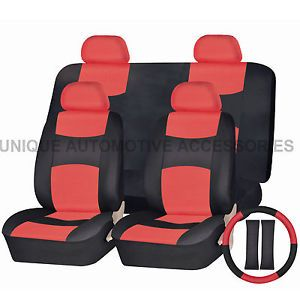 Pontiac Grand Am PU Leather Red Black Semi Custom Seat Covers Bench Set 13 Pcs