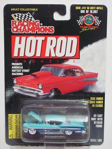 Racing Champions Hot Rods Magazine Issue 24 '58 Chevy Impala Blue 1 64