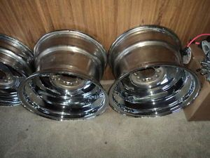 Prime Wheel Set Chevy Ford Custom Rims Hot Rods Chrome New