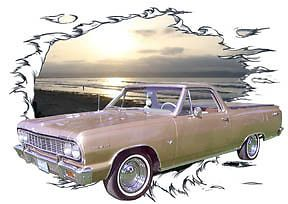 1964 Gold Chevy El Camino Custom Hot Rod Sun Set T Shirt 64 Muscle Car Tee'S
