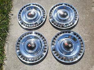 "1958 1961 Chevrolet Impala 14"" Factory Full Set 4 OE Wheel Cover Hubcaps"