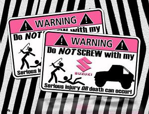 Pink Suzuki Samurai Warning Sticker 4x4 Off Mud Rock HD