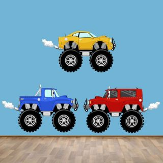 Monster Trucks Wall Decals Reusable