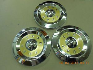 "3 ""Dog Dish"" Hubcaps 1956 1957 1958 Ford Fairlane Custom Etc"