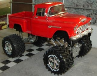 1955 Chevrolet 3100 Stepside Monster Truck Superior Collectibles 1 24 New Red