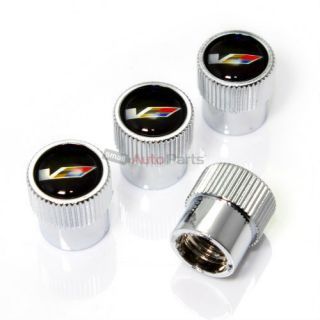 4 Cadillac cts V Logo Chrome ABS Tire Wheel Stem Air Valve Car Caps Covers