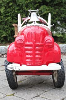 Vintage Fire Truck Metal Pedal Car