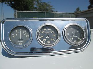 Vintage 2'' Triple Stewart Warner Gauges w NOS Under Dash Panel and Face Plates