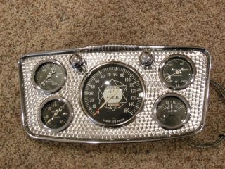 Vintage Hollywood Dash w Stewart Warner Gauges Panel Cluster Hot Rod Rat Scta