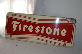 1950 60s Vintage Firestone Tires Old Gas Station Tin Metal Sign