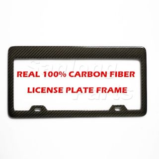 100 Real Carbon Fiber License Plate Light Frame Tag Cover Twill Weave Style1