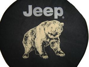 Sparecover® Brawny Series Jeep Logo 30 Bear on Heavy Black Denim Tire Cover