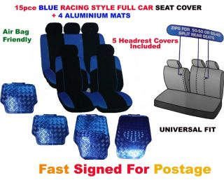 Universal Blue Racing Style Full Car Seat Cover Proctecter with 4 Aluminium Mats