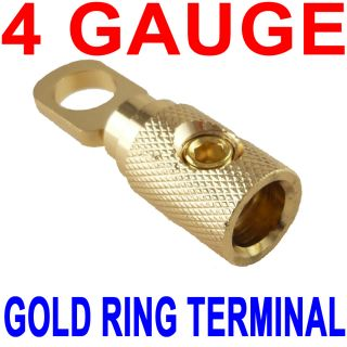 Gold Plated Ring Terminal 4 Gauge 5 16 4AWG Amp for Battery Cable Amplifier New