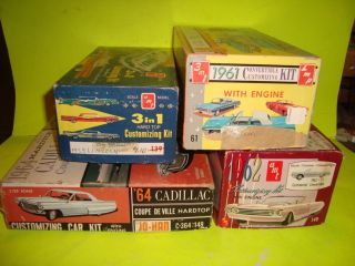 4 Vintage Model Car Kit Boxes Only