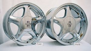 "1979 93 Mustang Pony R Wheels 17x6 5"" 17x10 Chrome w Sumitomo Tires"