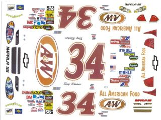 34 Tony Raines A w Ford 1 32nd Scale Slot Car Decals